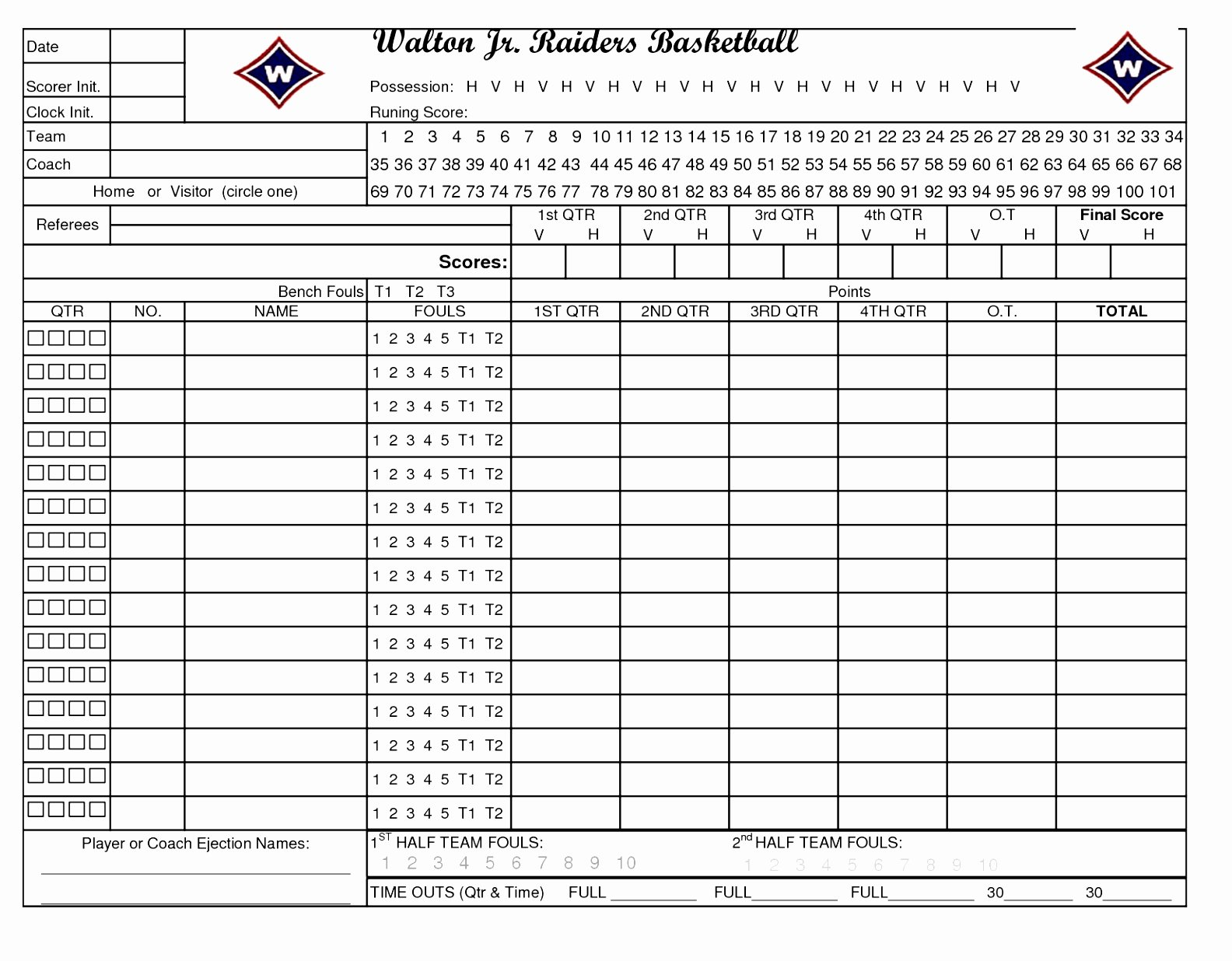 Printable Basketball Score Sheet Inspirational 10 Football Stat Sheet Template Excel Aieer