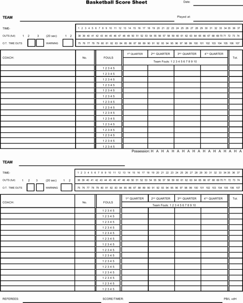 Printable Basketball Score Sheet Inspirational Download Basketball Score Sheet for Free formtemplate