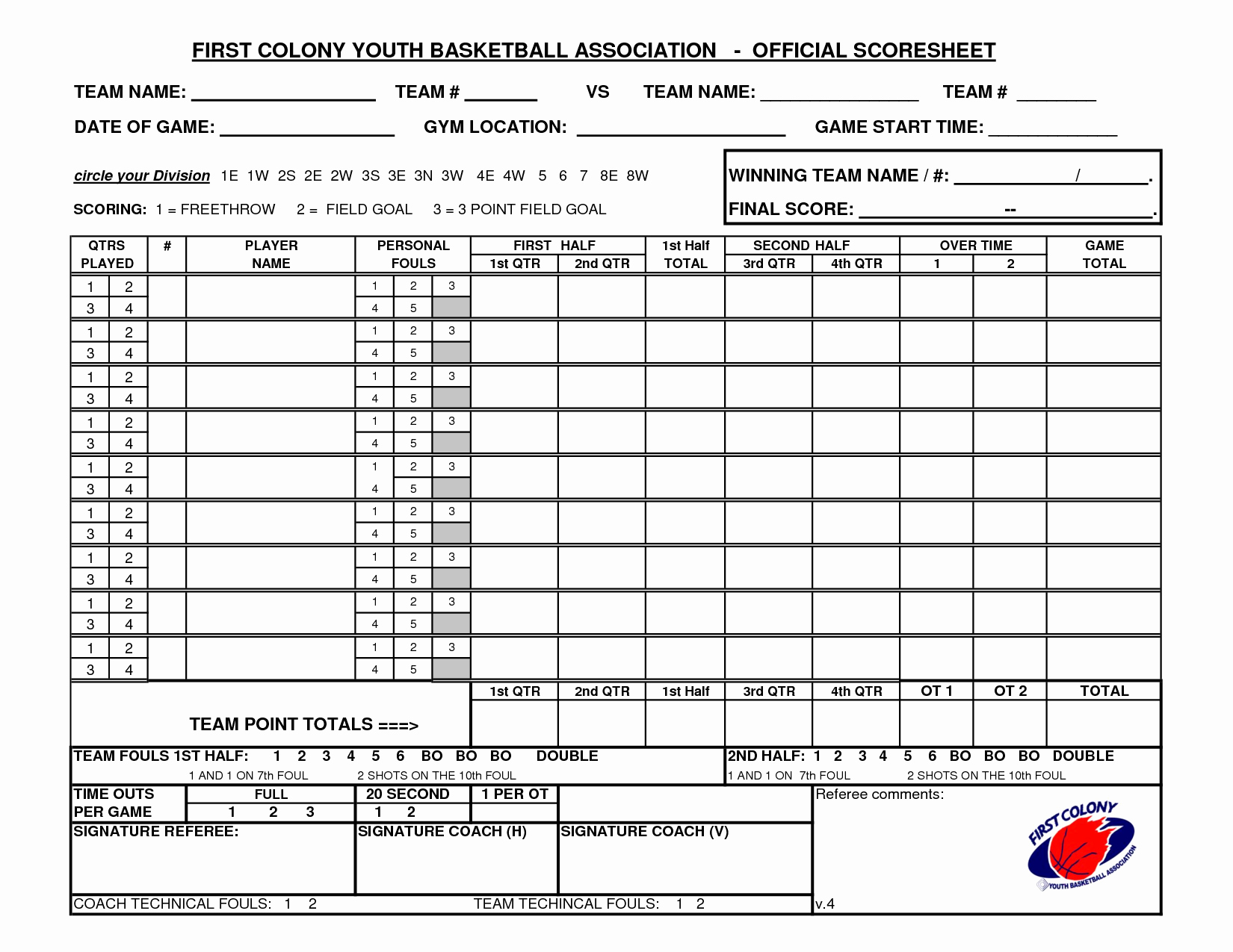 Printable Basketball Score Sheet Inspirational Youth Basketball Score Sheet Pdf