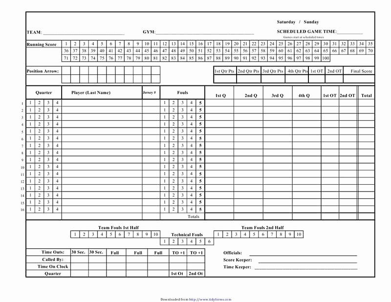 Printable Basketball Score Sheet Lovely Cricket Score Sheet Free Download Create Edit Fill and