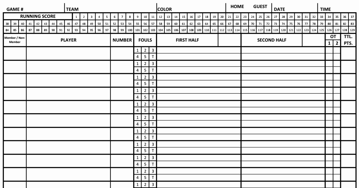 Printable Basketball Score Sheet Luxury Basketball Score Sheet 2018