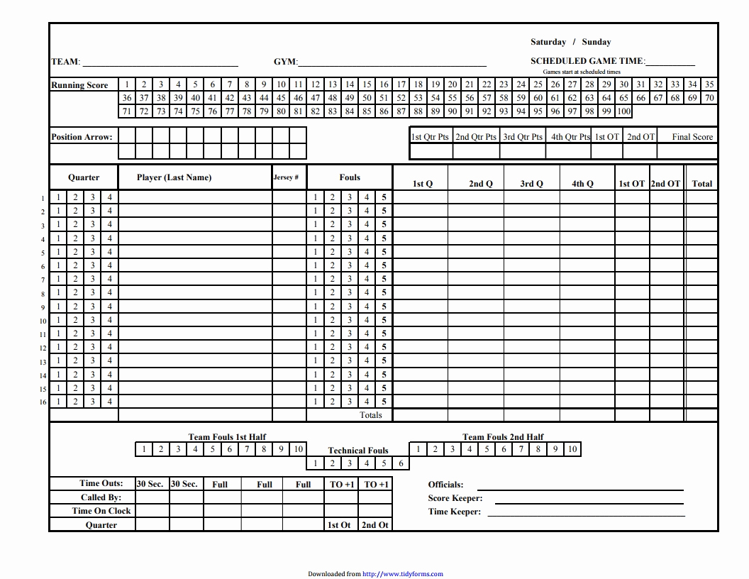 Printable Basketball Score Sheet New Basketball Score Sheet Free Download Create Edit Fill