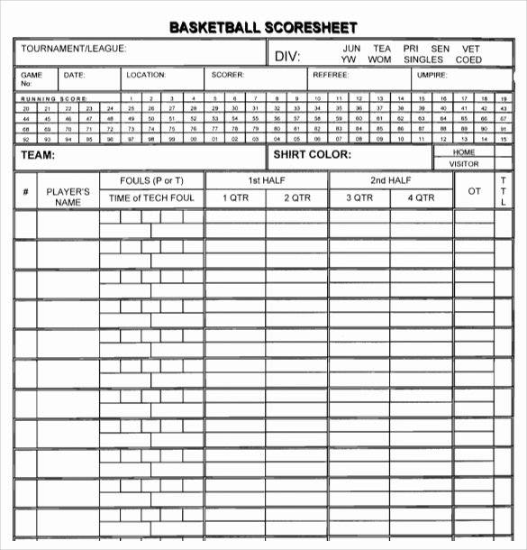 Printable Basketball Score Sheet New Free 11 Sample Basketball Score Sheets In Google Docs
