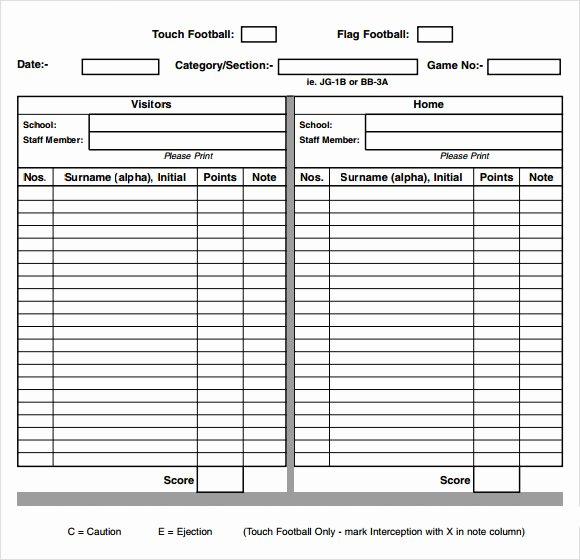 Printable Basketball Score Sheet Unique Score Sheet for Football 2019