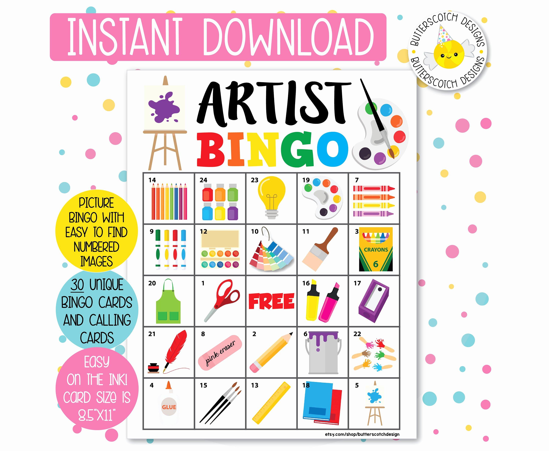 Printable Bingo Calling Cards Awesome Artist Art Party Printable Bingo Cards 30 Different Cards