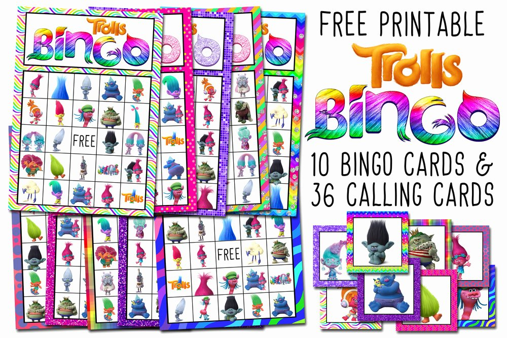 Printable Bingo Calling Cards Awesome Dreamworks Trolls Birthday Party Running In Triangles