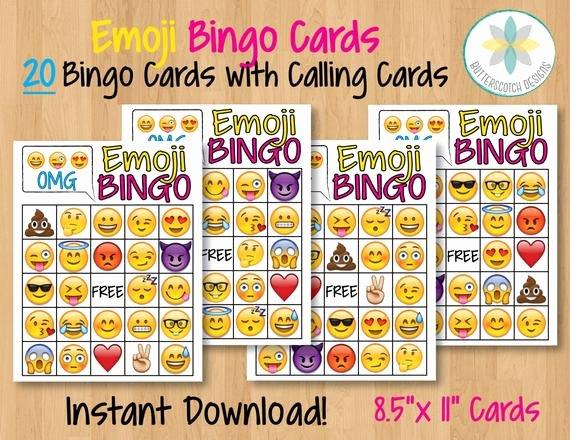 Printable Bingo Calling Cards Beautiful Emoji Printable Bingo Cards 20 Different by butterscotchdesign