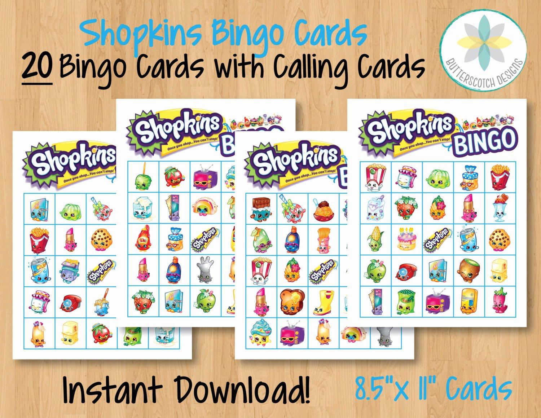 Printable Bingo Calling Cards Beautiful Shopkins Printable Bingo Cards 20 Different Cards Instant