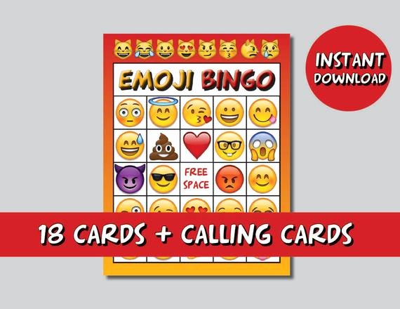 Printable Bingo Calling Cards Best Of Instand Dl Emoji Bingo 20 Cards Calling Cards Emoji Game