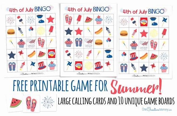 Printable Bingo Calling Cards Elegant 4th Of July Bingo Onecreativemommy
