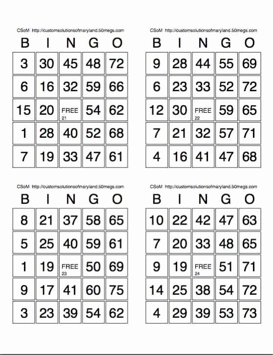 Printable Bingo Calling Cards Fresh Free Printable Bingo Card Sheets