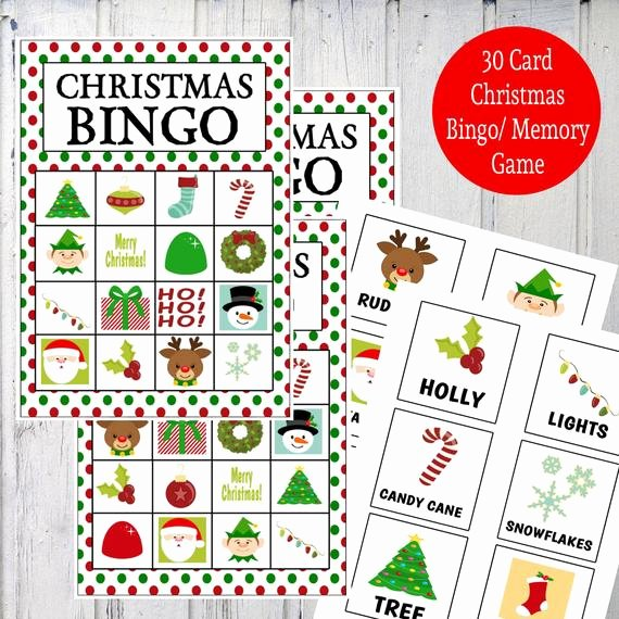 Printable Bingo Calling Cards Lovely Items Similar to Printable Christmas Bingo & Memory Game