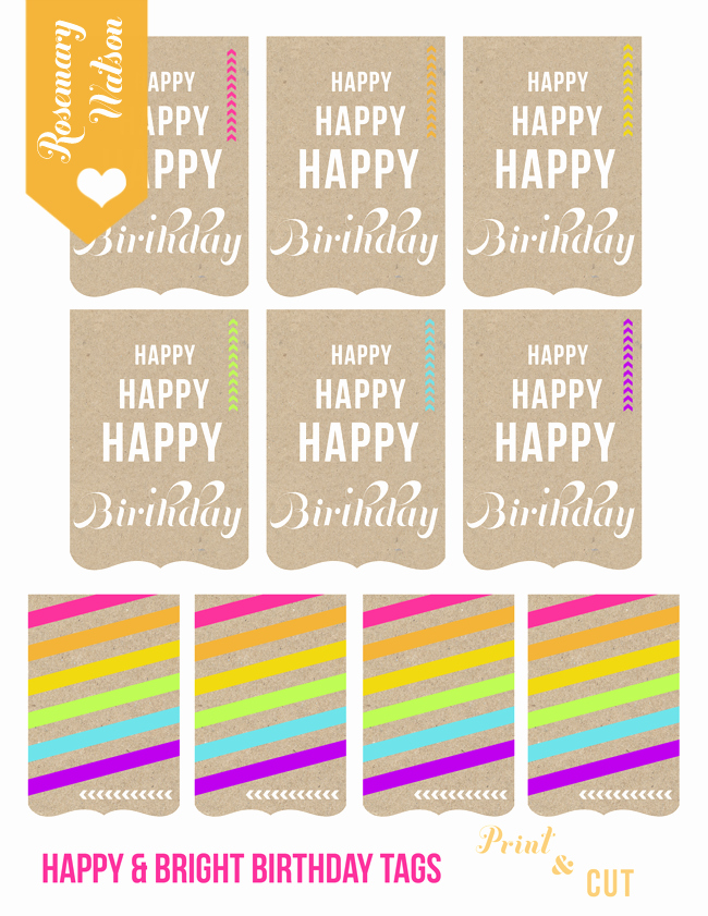 Printable Birthday Gift Tags Elegant I Heart Rosemary Watson A Journal From 2012 2013 How to