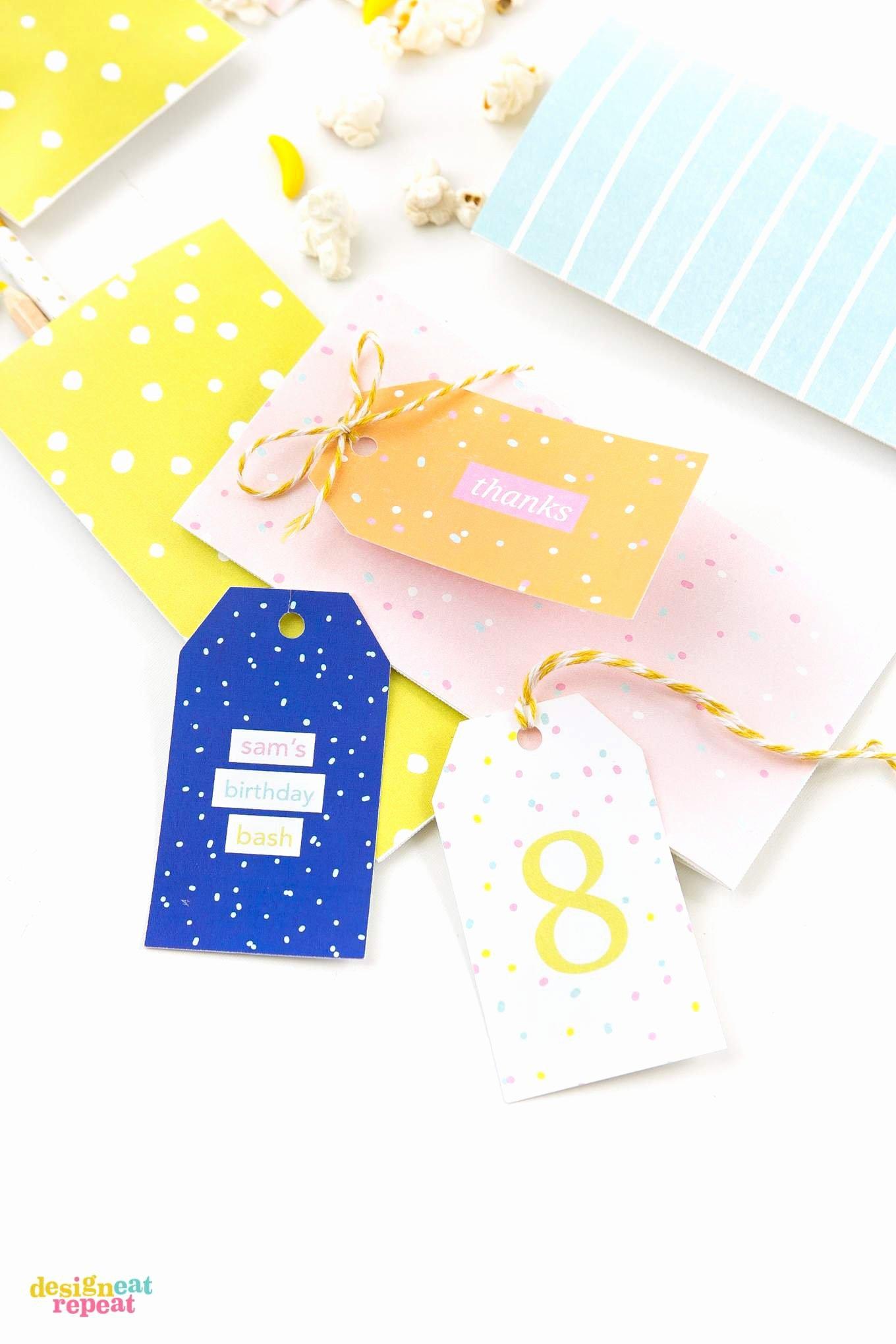 Printable Birthday Gift Tags Fresh Colorful Printable Birthday Gift Tags Design Eat Repeat