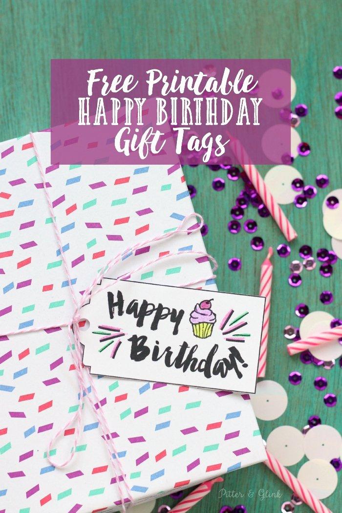 """Printable Birthday Gift Tags Inspirational Pitterandglink Free Printable """"happy Birthday"""" Gift Tags"""