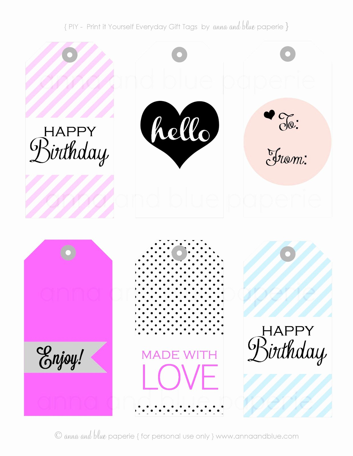 Printable Birthday Gift Tags Lovely Anna and Blue Paperie Gift Tags Free Printable
