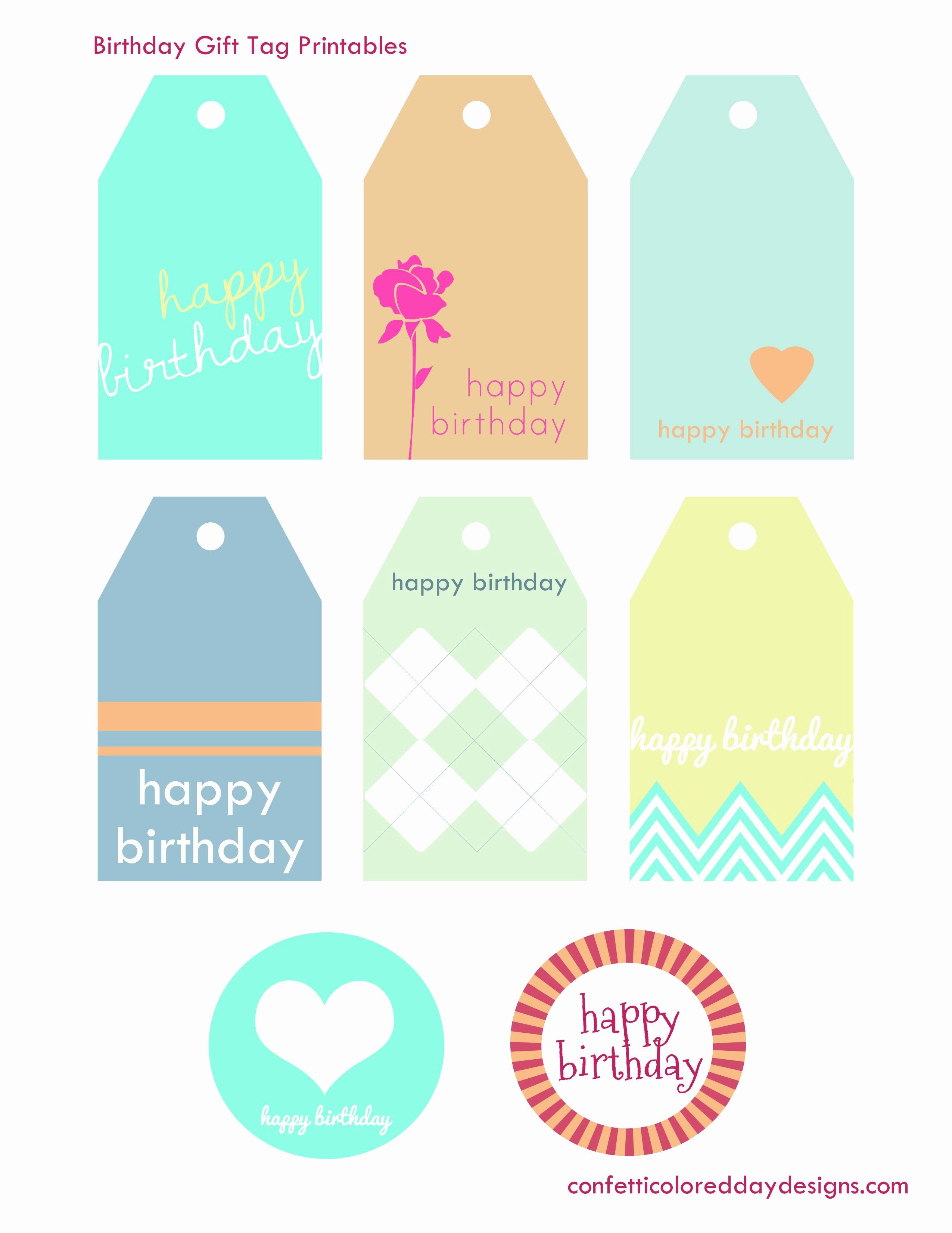 Printable Birthday Gift Tags New Free Printable Birthday Gift Tags From Confetti Colored
