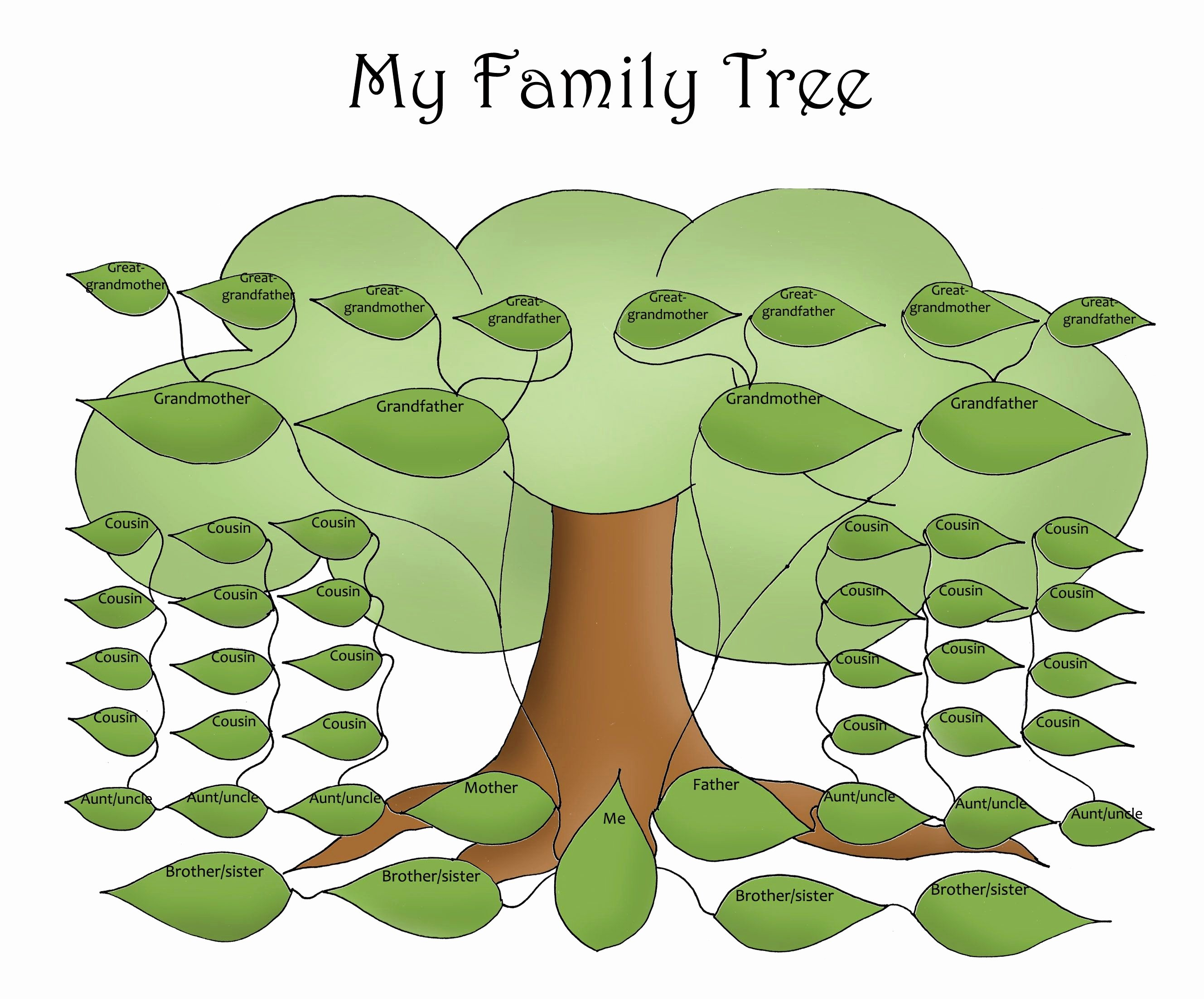 Printable Blank Family Tree Lovely Free Editable Family Tree Template Daily Roabox