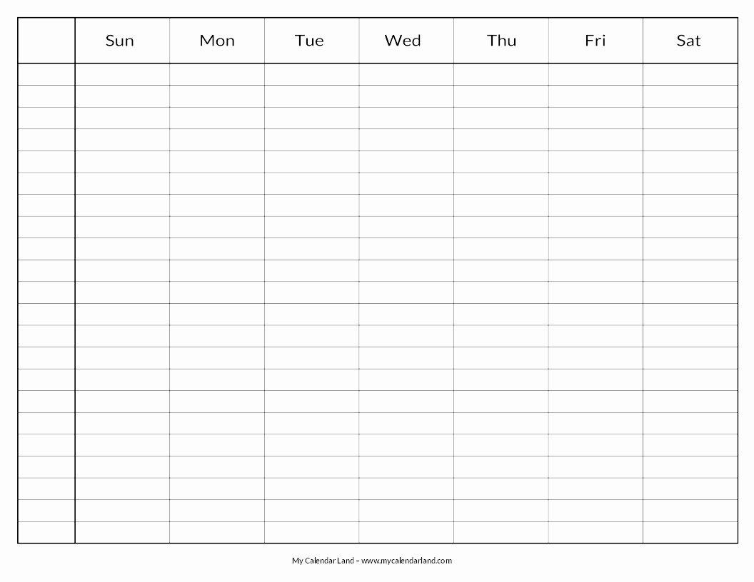 Printable Blank Weekly Calendar Elegant Blank Calendar Printable My Calendar Land