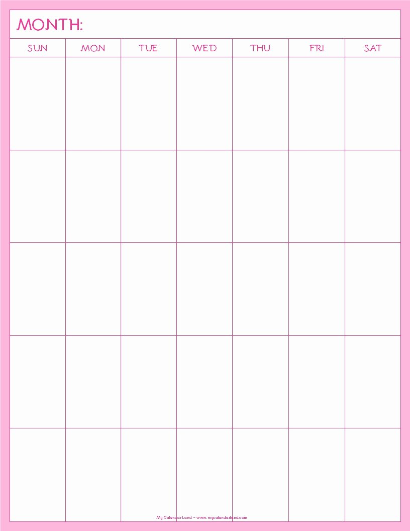 Printable Blank Weekly Calendar Fresh Blank Calendar Printable My Calendar Land