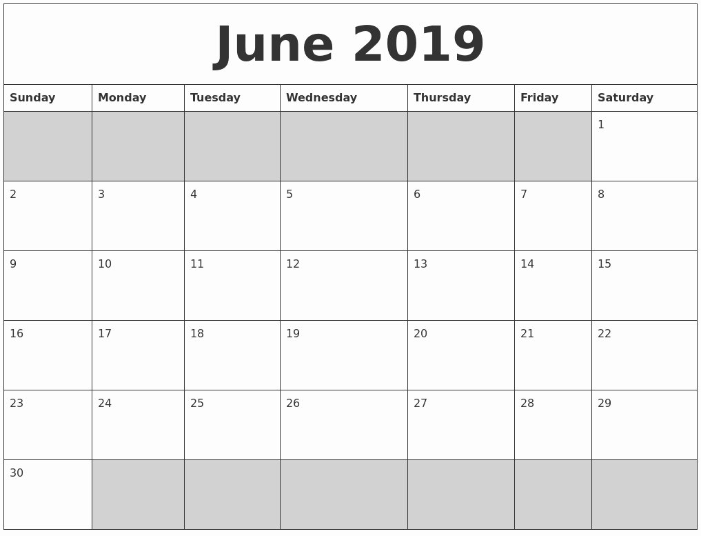 Printable Blank Weekly Calendar Fresh Blank Printable June 2019 Calendar