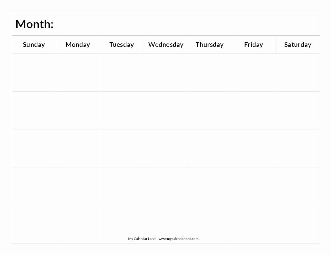 Printable Blank Weekly Calendar Fresh Printable Blank Calendar Study Schedule