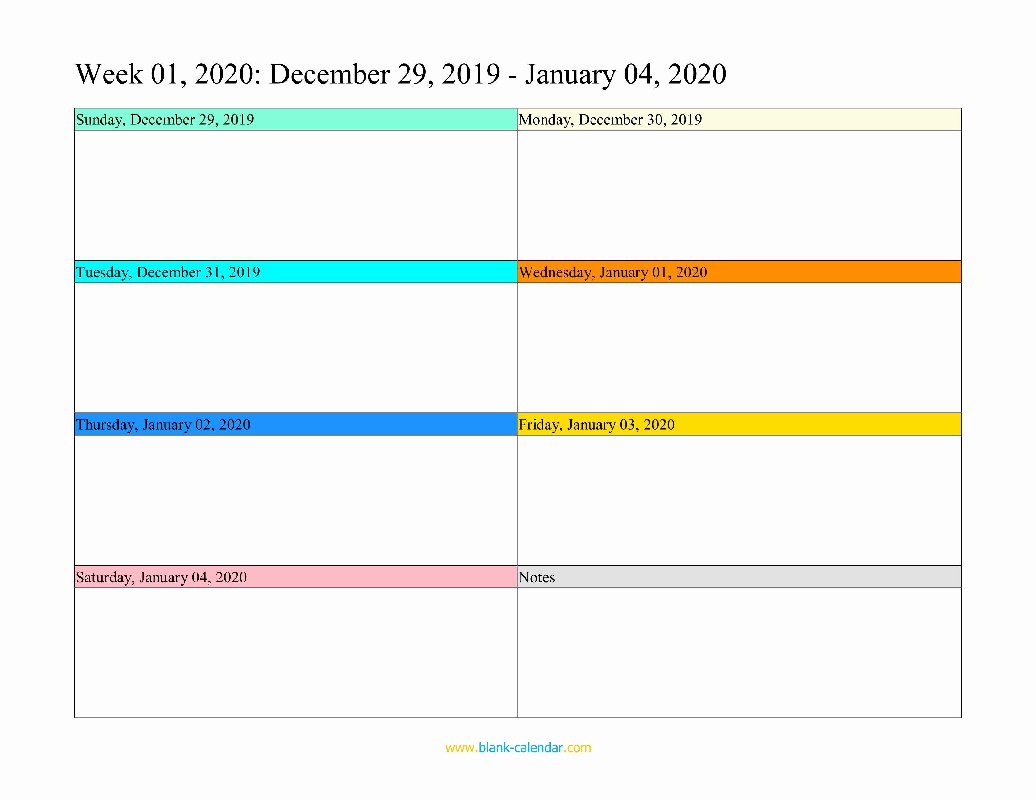 Printable Blank Weekly Calendar Fresh Weekly Calendar 2020 Word Excel Pdf