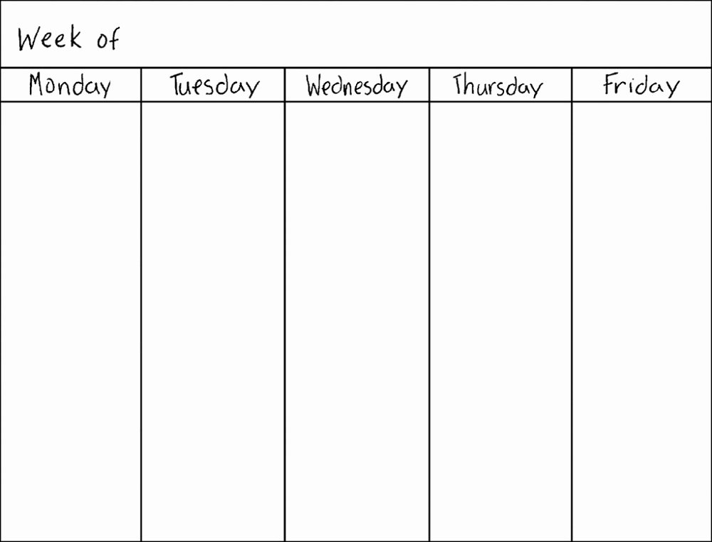 Printable Blank Weekly Calendar Luxury Blank Weekly Calendars Printable