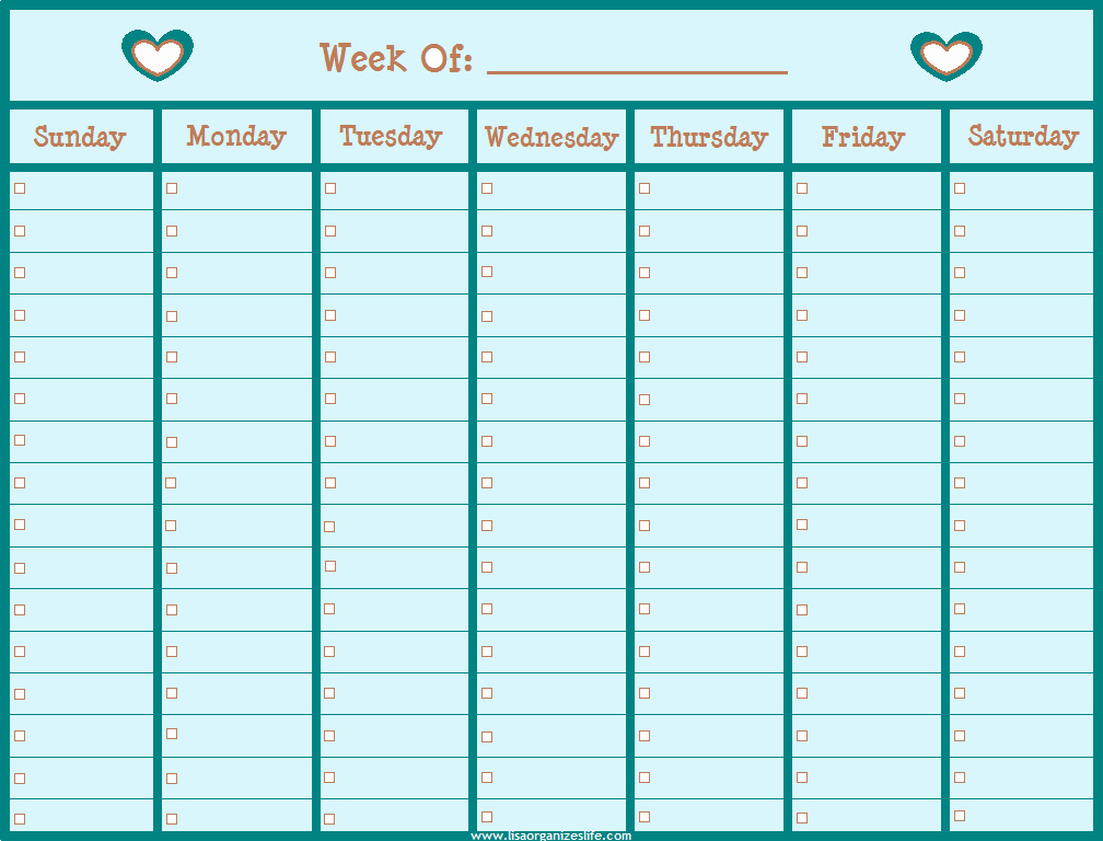 Printable Blank Weekly Calendar Luxury Free organizing Printables Archives Lisa organizes Life