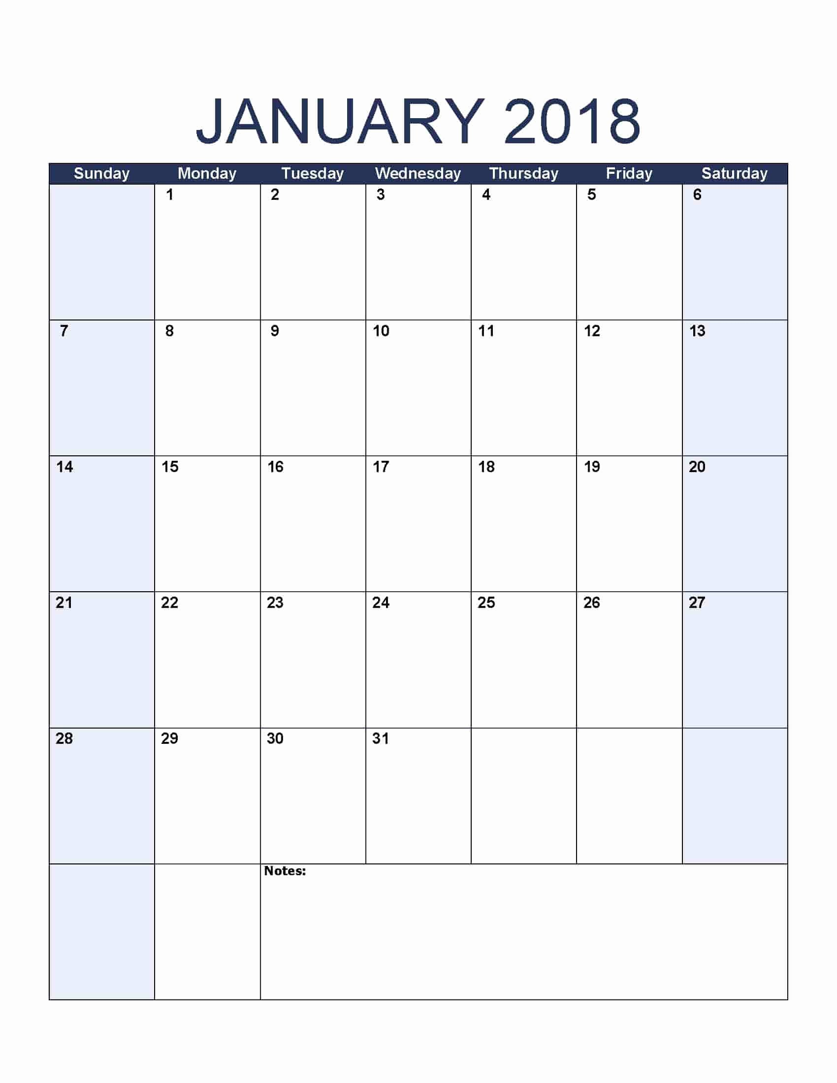 Printable Blank Weekly Calendar Unique January 2018 Calendar Free Printable Calendar Templates