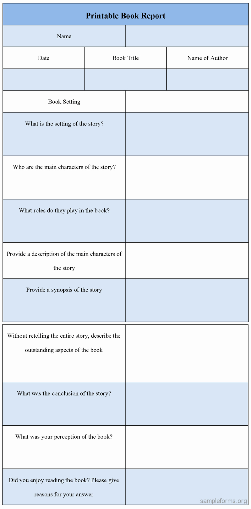 Printable Book Report forms Elegant Printable Book Report form Sample forms