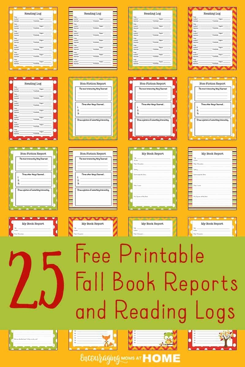 printable fall reading logs report forms