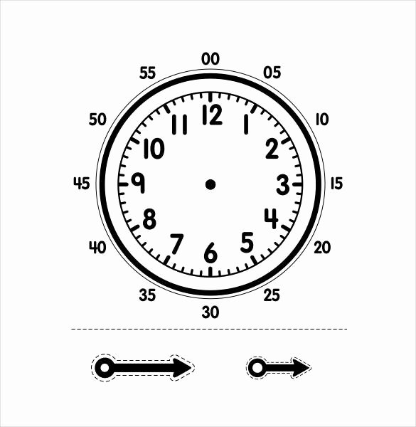 Printable Clock Face with Hands Unique Clock Template Printable
