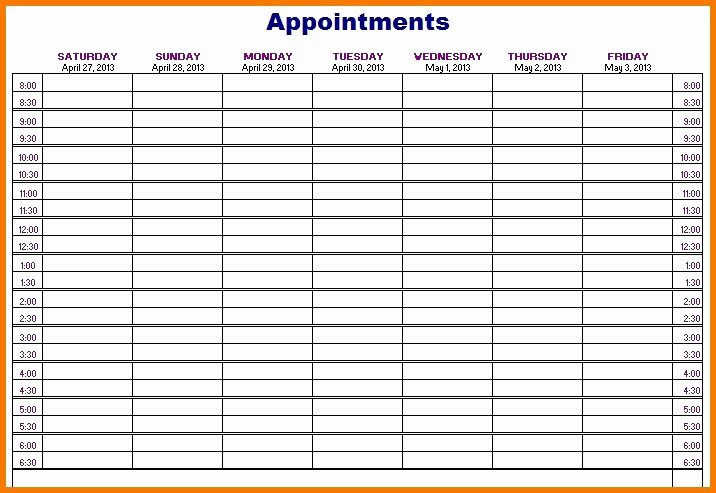 Printable Daily Appointment Calendar Awesome 50 Weekly Appointment Calendar Template