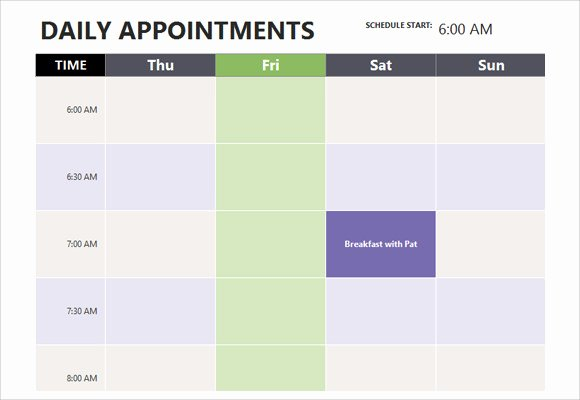 Printable Daily Appointment Calendar Luxury Appointment Scheduling Template