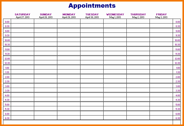 Printable Daily Appointment Calendar Unique Appointment Book Templates