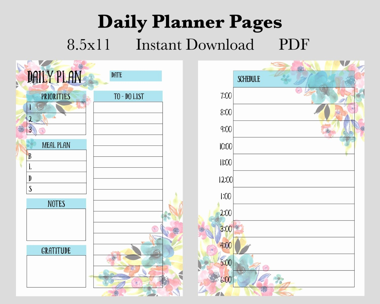 Printable Daily Calendar Pages Fresh Daily Planner Pages Instant Download Printable Planner Pages