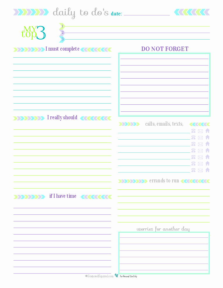 Printable Daily Calendar Pages New Day 27 to Do List Printables Scattered Squirrel