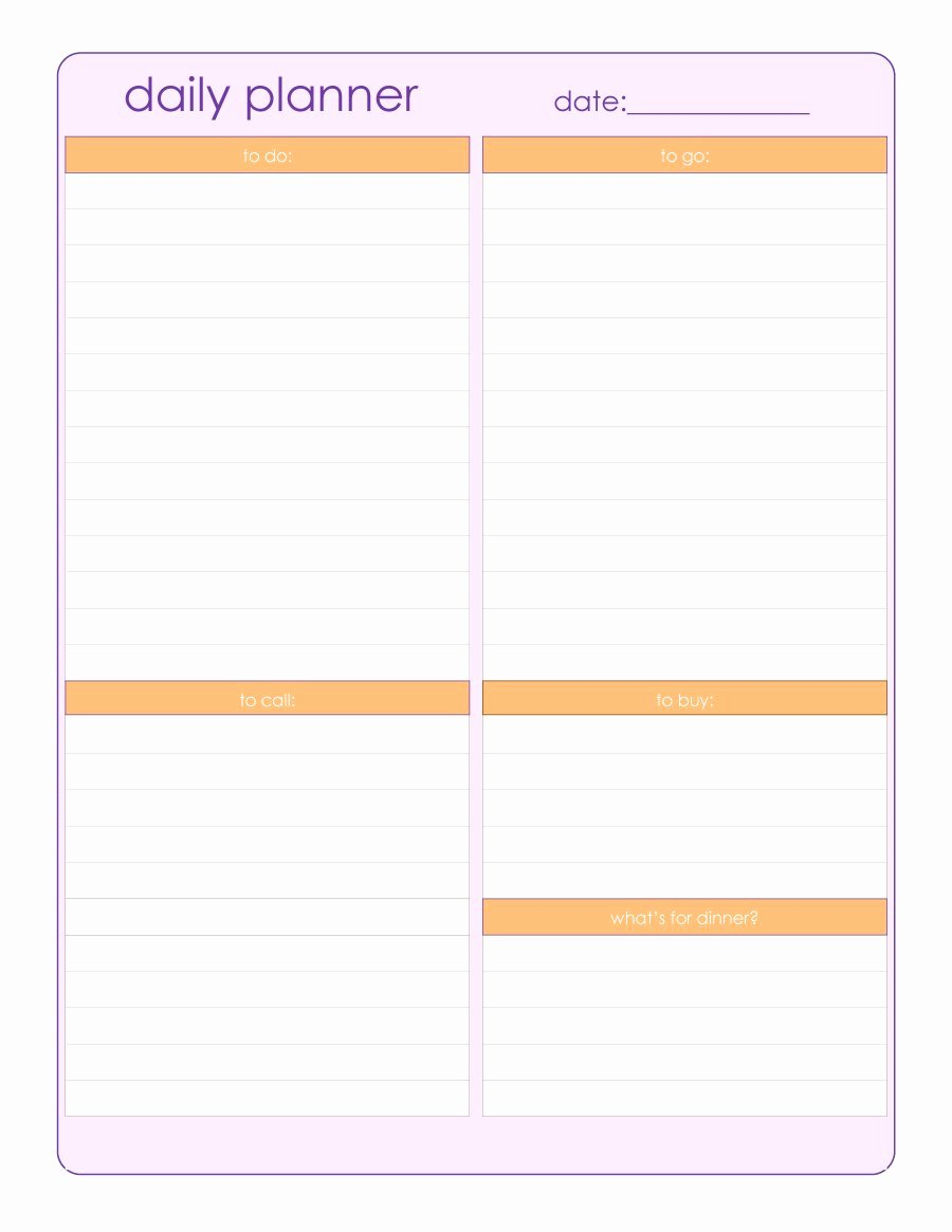 Printable Daily Calendar Template Awesome 47 Printable Daily Planner Templates Free In Word Excel Pdf