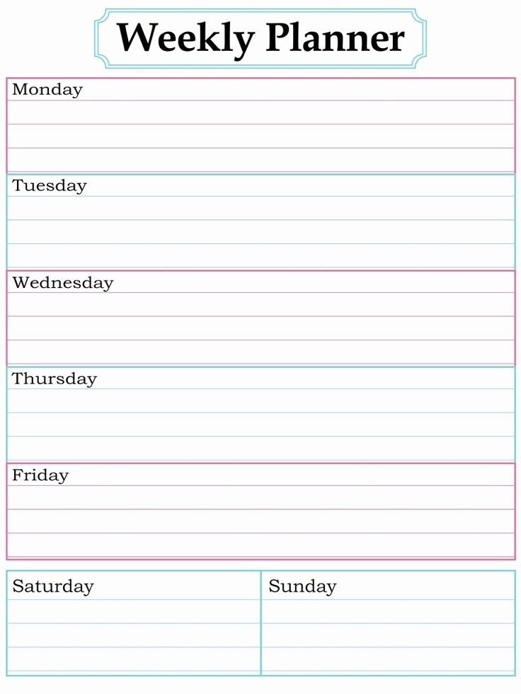 Printable Daily Calendar Template Beautiful Best 25 Weekly Calendar Template Ideas On Pinterest