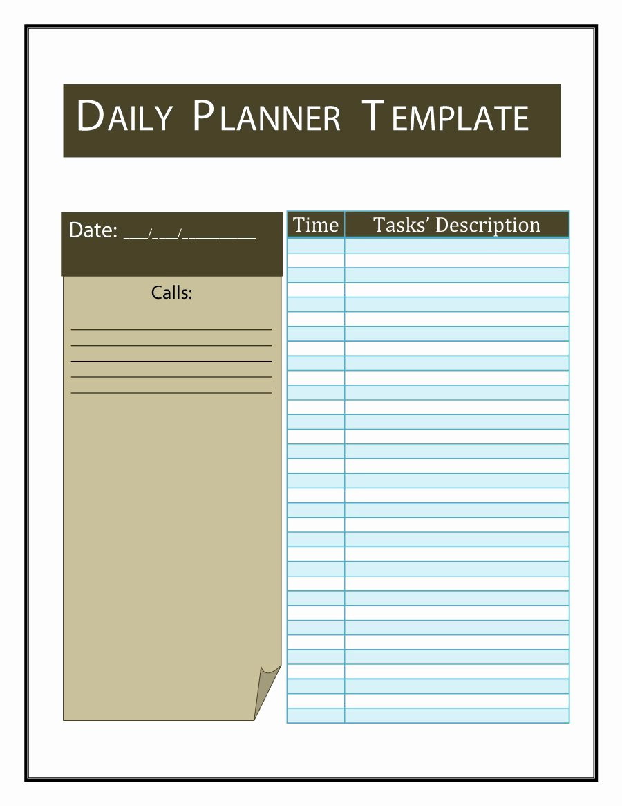 Printable Daily Calendar Template Fresh 47 Printable Daily Planner Templates Free In Word Excel Pdf