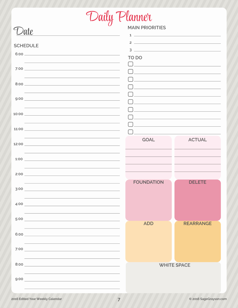 Printable Daily Calendar Template Unique Free Printable Worksheet Daily Planner for 2016 Sage