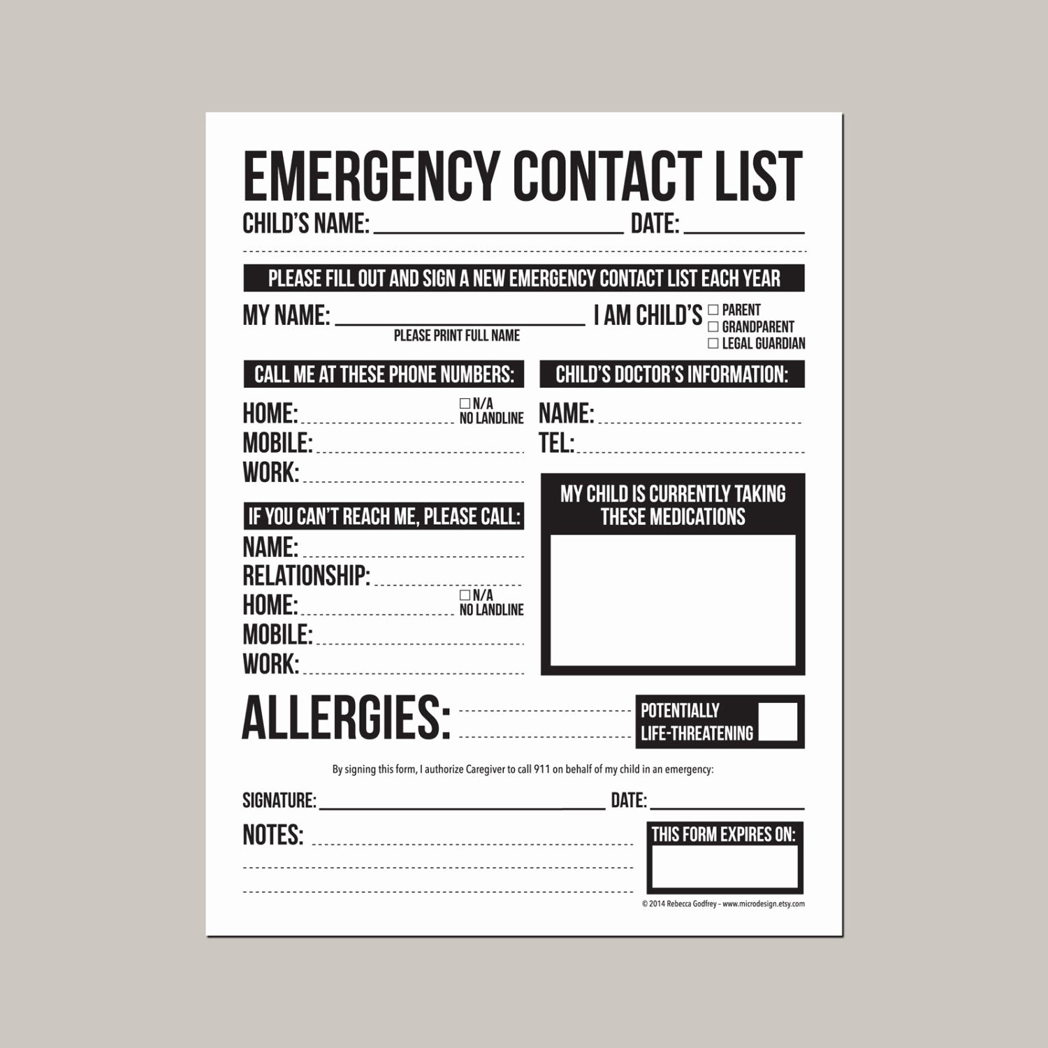 Printable Emergency Contact Card Beautiful Emergency Contact form for Nanny Babysitter or Daycare