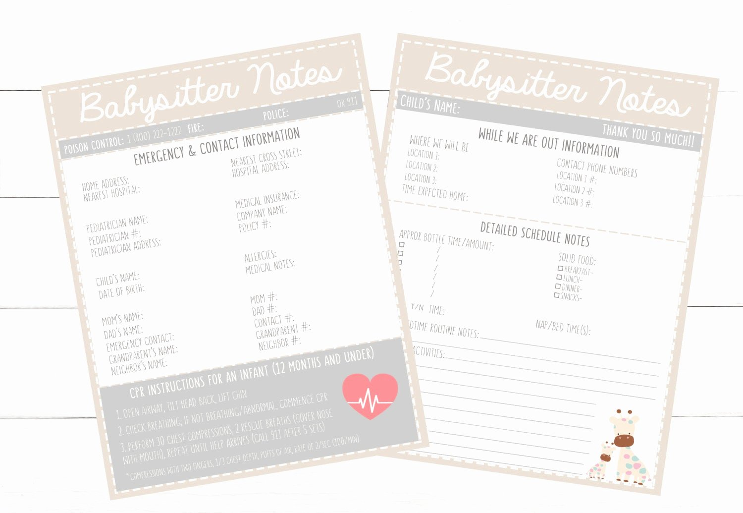 Printable Emergency Contact Card Best Of Printable Infant Beige Emergency Contacts & Schedule