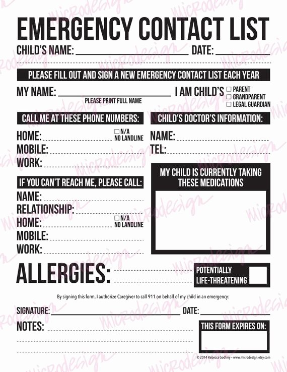 Printable Emergency Contact Card Elegant Emergency Contact form for Nanny Babysitter or by Microdesign