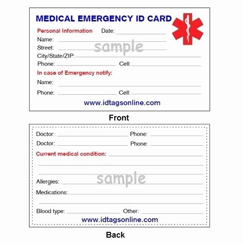 Printable Emergency Contact Card Inspirational Medical Emergency Wallet Card for Medical Alert Id