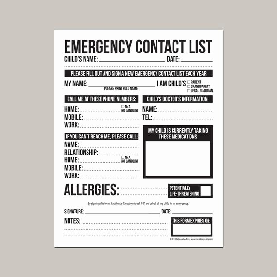 Printable Emergency Contact Card New Emergency Contact form for Nanny Babysitter or Daycare