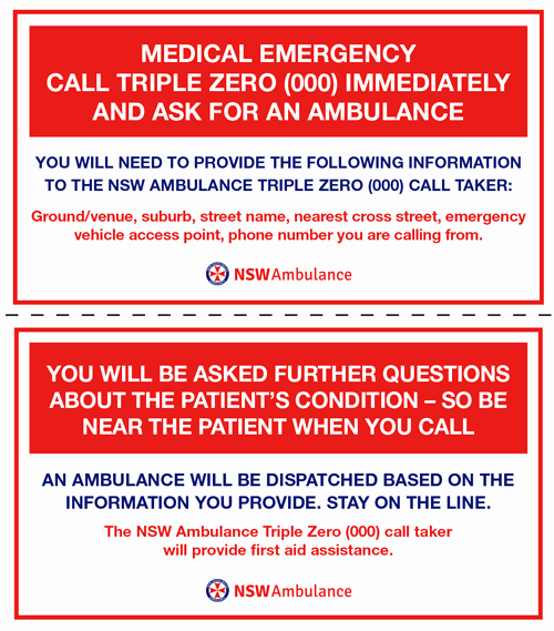 Printable Emergency Contact Card New Emergency Templates for Sport and Other Venues Nsw Ambulance