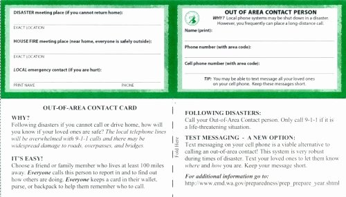 Printable Emergency Contact Card New Out Of area Contact Card