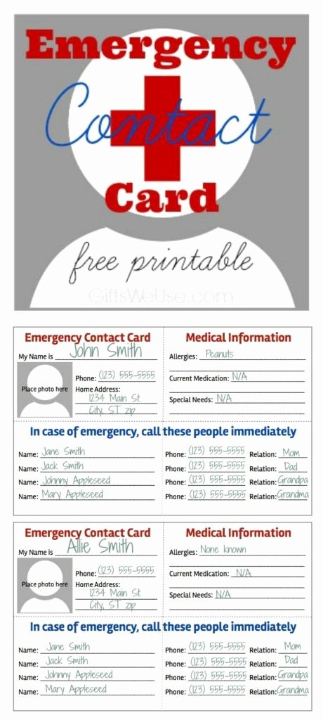 Printable Emergency Contact Card Unique Emergency Contact Card Free Printable